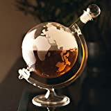 <span class='highlight'><span class='highlight'>Homezone</span></span>® Large Glass World Map Globe Whisky Decanter | Wine Carafe On Cradle | Hand Blown Etched Glass Drinks Decanter | Fathers Day Gift Ideas