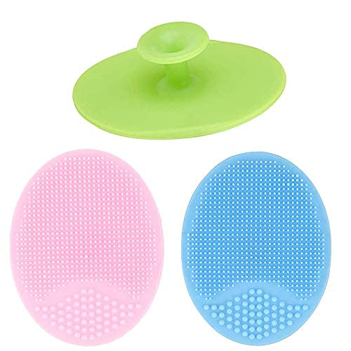 Cepillo de limpieza facial de silicona de 3 piezas, limpiador facial de mano para mujeres, exfoliador y eliminación de puntos negros para sensibilidad
