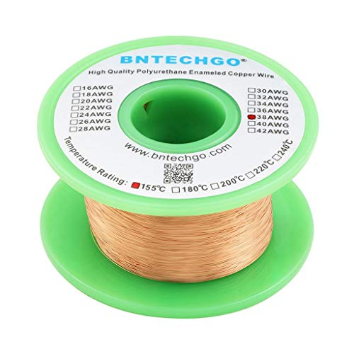 BNTECHGO 38 AWG Magnet Wire - Enameled Copper Wire - Enameled Magnet Winding Wire - 4 oz -...