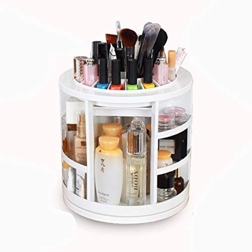 Boîte de rangement cosmétique rotative à 360 ° - Présentoir de cosmétiques en plastique blanc pour le stockage des brosses, vernis à ongles, rouge à lèvres