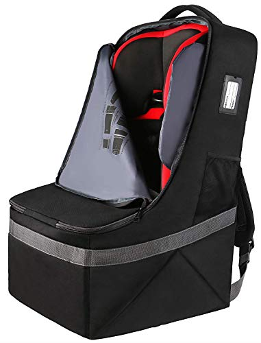Transporttasche für Kindersitz, Gate Check Reise Tasche mit Rucksack, Ultra Leicht Faltbarer Kinder Autosit Tasche Transportrucksack Wasserdicht - gut für Flugzeug und Aufbewahrung Schwarz MEHRWEG