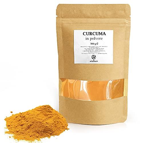 ERBOTECH Curcuma in Polvere, Busta da 500 g, 100% Pura, Senza Aggiunta di Sostanze Allergeniche, Senza OGM, Vegan & Senza Glutine, Made in Italy