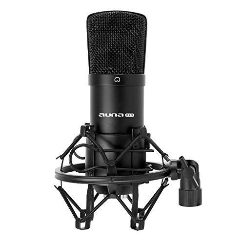 Auna CM001B - Micrófono de condensador, para estudio profesional, cuerpo de latón resistente, salida XLR y Shockmount, color negro