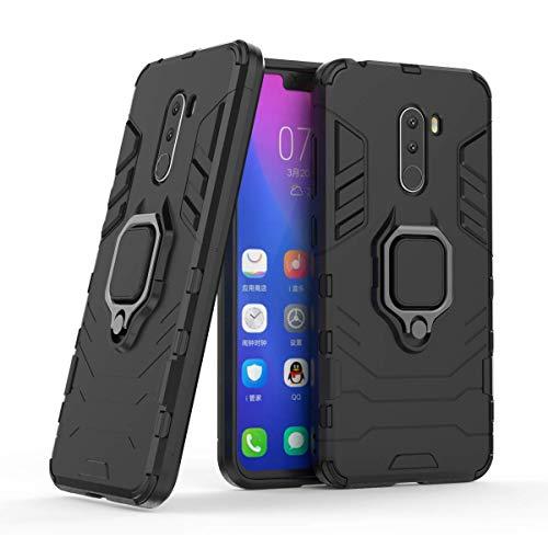 Compatible con Xiaomi Pocophone F1 Funda, Anillo Metálico Sujeción Soporte Antichoque Rígido Caja (Funciona con el Montaje de Coche Magnético) Doble Capa Sólido Case Carcasa - Negro