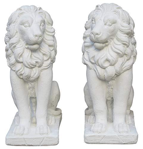 STONE art & more - Juego de Figuras Decorativas (55 cm, Piedra fundida con mármol, Resistente a Las heladas), diseño de Leones