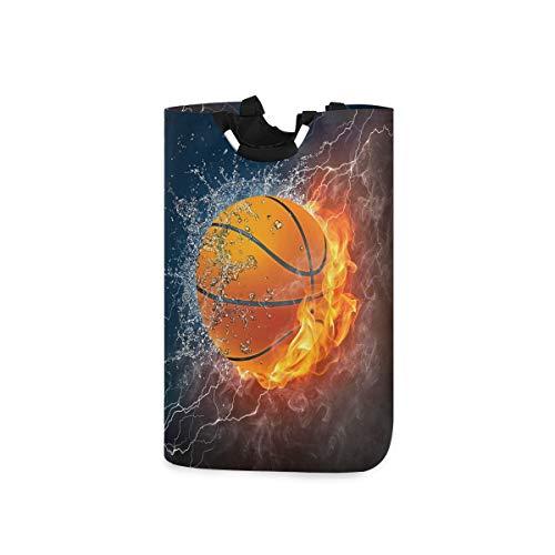 Funnyy Basketball Feuer-Wasser-Wäschekorb, faltbar, großer Wäschesammler mit Griffen, wasserdichter Stoff, Wasch-Spielzeug, Geschenkkorb, schmutzige Kleidung, Tasche für Badezimmer, Schlafzimmer