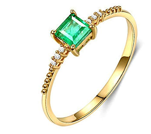 Clavie Engagement Ring for Her 750 Yellow Gold 0.06ct Emerald Diamond Solitaire Size S 1/2