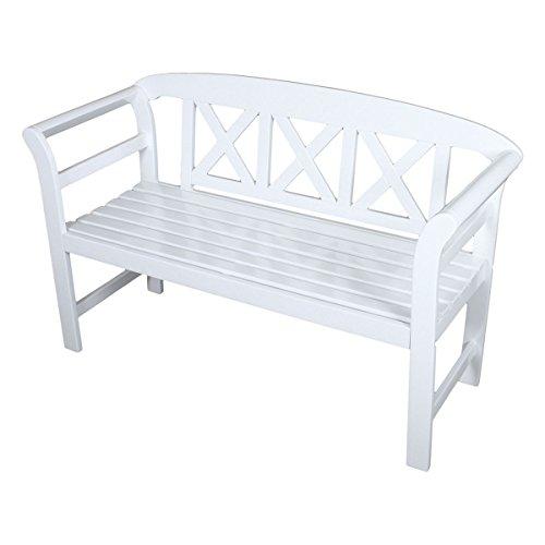 Unbekannt VARILANDO® 2-Sitzer Gartenbank Vincent aus weiß lackiertem Eukalyptus Holzbank Sitzbank Schweden-Look