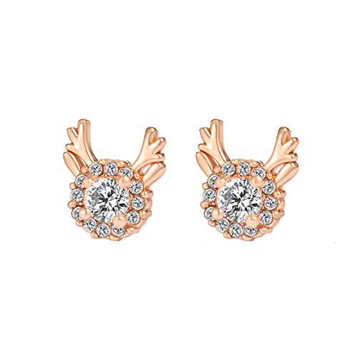 Lovely Christmas Reindeer Antlers Shape Ear Stud Earrings Jewelry for Women Girls Teens