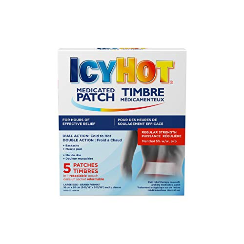 Icy Hot Medicated Patch, 5 Count, Long-Lasting Muscle & Joint Pain Relief, For Simple Back Pain, Lumbago, Strains & Sprains