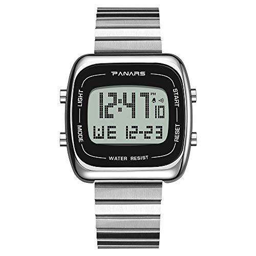 Withou Hombres Reloj electrónico, Acero de aleación de Banda, a Prueba de Agua Multifuncional Deportivo Reloj de los Hombres, Moda Cuadrados, Grande Pantalla Luminosa (Color : Silver)