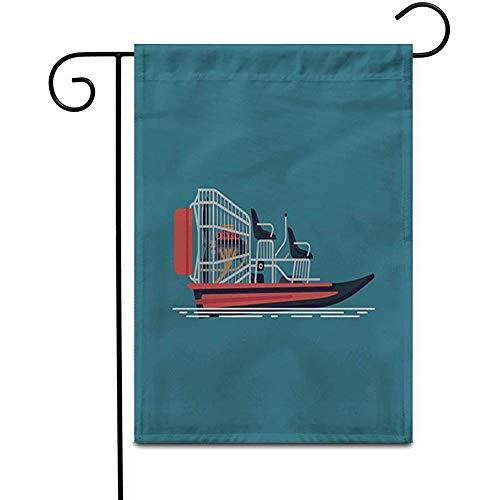 fingww Yard Banner Cool Auf Freizeit Wasseraktivität Und Ökotourismus Airboat Fanboat Outdoor Home Decor Doppelseitige Yard Flags Banner Terrasse Garten Flagge Rasen 32X48Cm