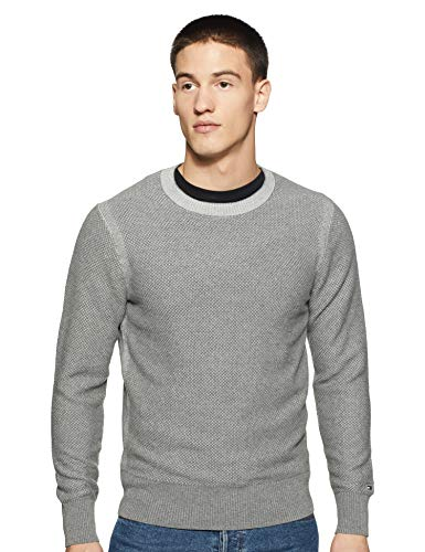 Tommy Hilfiger Men's Cotton Sweater (A9AMS187S_Silver Fog Heather_S)