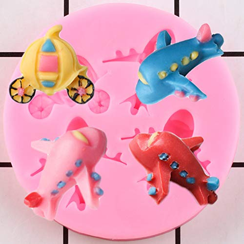 VIOYO 3D Cartoon Flugzeug Silikonform Kinderwagen Pralinenschimmel Ton Formen Baby Geburtstag Cupcake Topper Fondant Kuchen Dekorationswerkzeuge