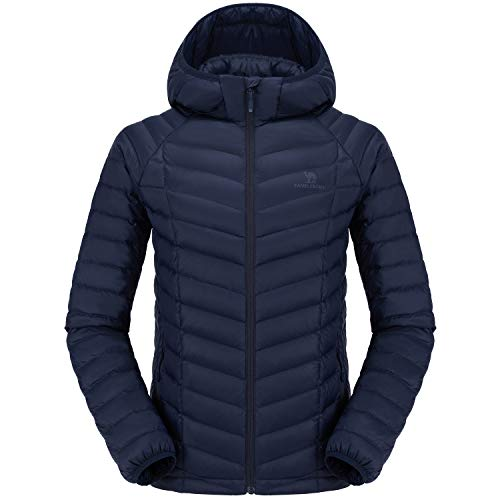 CAMELSPORTS Men's Packable Hooded Down Puffer Jacket Winter Warm Lightweight Insulated Windproof Coat for Outdoor Travel Blue Medium
