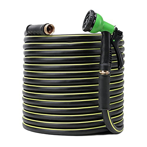 Rubber Garden Hose 30FT, No Kink Heavy Duty Garden Water Hose With 7 Function Nozzle and Solid Brass Fittings Extra Strength Durable Gardening Flexible Hose for Garden/House/Car/Yard Washing