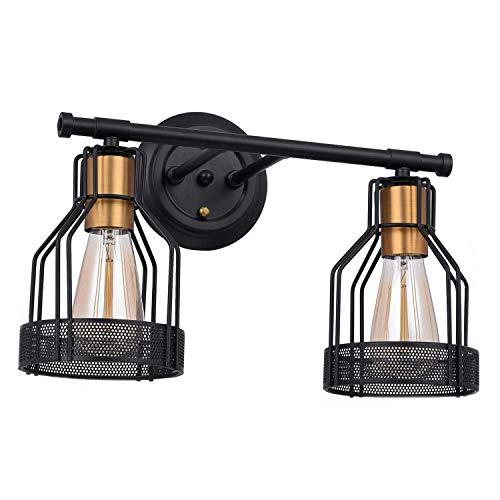 Vintage Badezimmer Wandleuchte Schwarz Metall Spiegelleuchte 2-flammig Badlampe Wandmontage Spiegelbeleuchtung E27 Bad Wandlampe Industrial