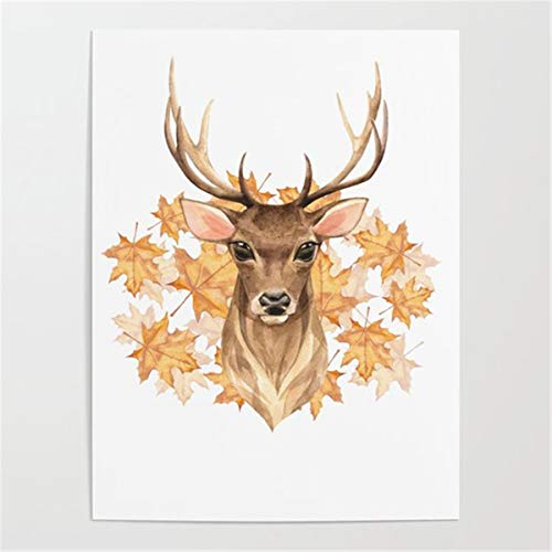 Number Painting DIY Craft Kits Leaf deer Paint By Number Kits Acrylic Painting Kit For Adults & Kids Beginner40x50cm no frame