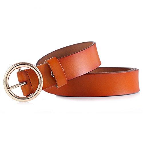GAXmi Cinturón de Cuero para Mujer Señoras Cinturones Estrechos para Jeans/Vestido con Hebilla Redonda (Amarillo)