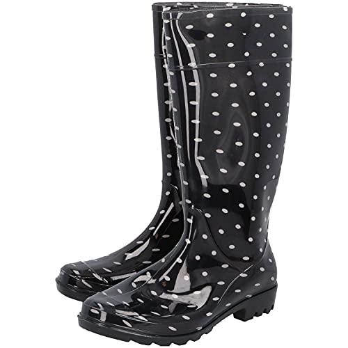 PROTECT2U Botas de agua de PVC para mujer (tallas 36-41), diseño de lunares, color negro
