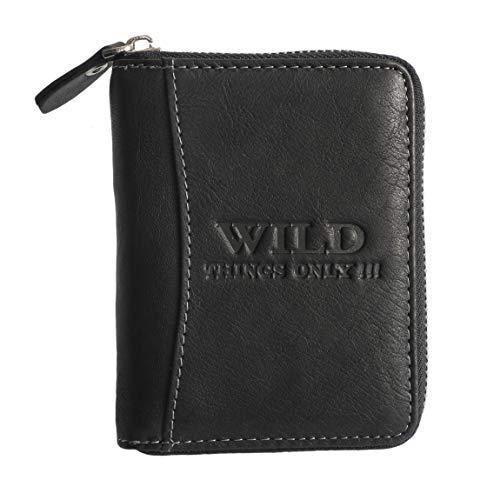 Herren Hochformat Geldbörse von Wild Things Only !!! Herrengeldbörse Geldbeutel Portemonnaie, umlaufender Reißverschluss, Rindleder (Schwarz) - präsentiert von ZMOKA®
