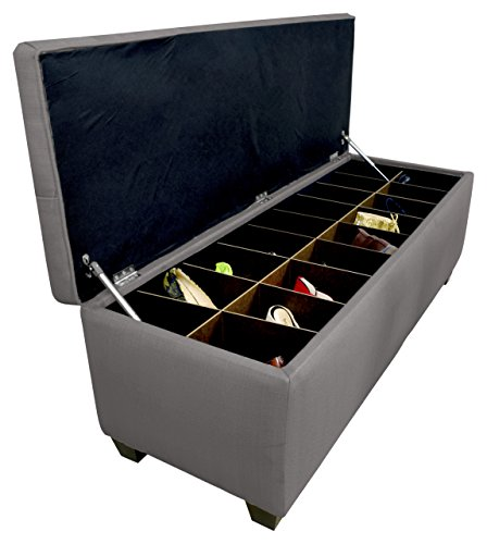 "MJL Furniture Designs Sole Secret Diamond Tufted Ottoman/Bedroom Bench with Shoe Storage, 18"" x 55"" x 18"", Large, Gray"