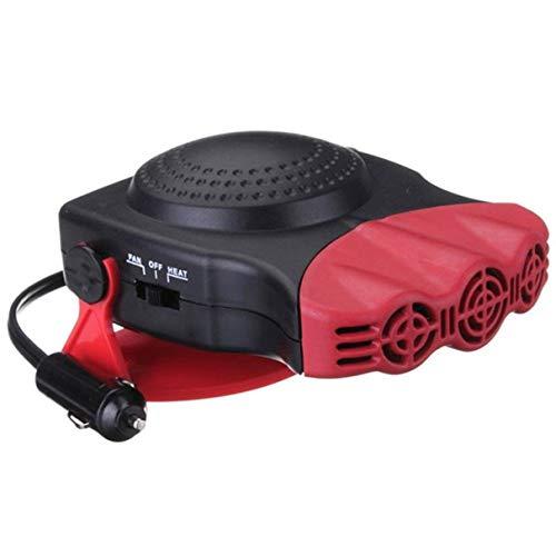 QLJ Auto Heizung 12V 24V Auto elektrische Heizung Windheizung Auto Auto Heizung tragbar mit drehbarem Griff Luftabtauen Schnee Defogger - Rot