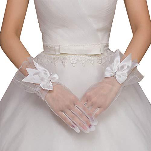JIUYECAO Nuevos guantes de novia gasa bow-knot con dedos corto blanco guante...