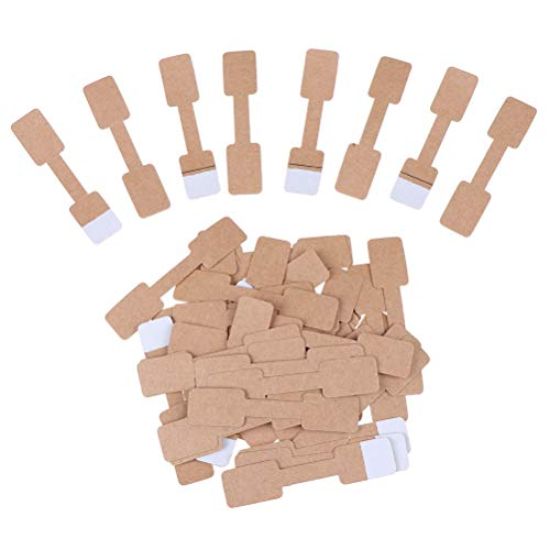 JiaUfmi 500 Pcs Quadrate Blank Brown Paper Price Tag Labels Jewelry Display Cards Labels Ring Sticker Hangtags, 0.47 x 2.36 Inches