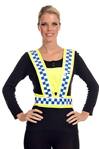 Equisafety - Imbracatura da Corpo, Regolabile, Giallo (High Viz Yellow with Blue/White Chequered Tape), Adulto