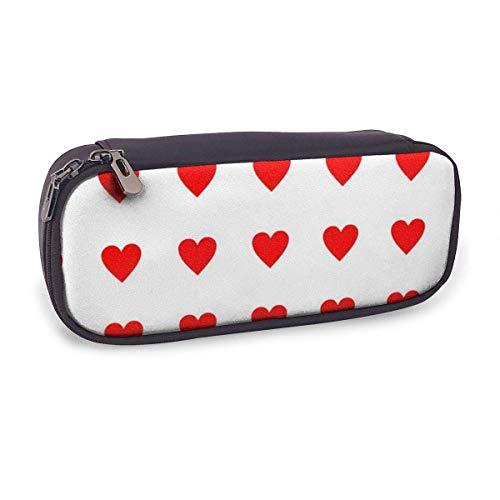Estuche Escolar de Gran Capacidad,Fondo de Patrón de Corazón Rojo,Bolsa de Lápiz Organizador para Material Papelería con Cremallera Doble
