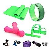 Essential Yoga Starter Set Kit,5pcs Includes Yoga Mat,2 x 0.5kg Mancuernas,1 Rueda de Yoga,1x Saltar la Cuerda,Resistencia al Yoga con Pedales,Para Pilates y Otros Entrenamientos de Fitness,Green