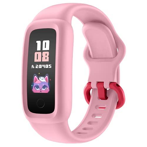 BIGGERFIVE ab 5-12 Jahren, Fitness Tracker Smartwatch mit Schrittzähler Pulsuhr Kalorienzähler Schlafmonitor, IP68 Wasserdicht Aktivitätstracker