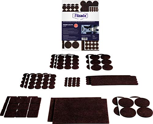 Filzada® Filzgleiter Selbstklebend Set 156 Stück (Eckig und Rund) - Braun - Profi Möbelgleiter Filz Mit Idealer Klebkraft