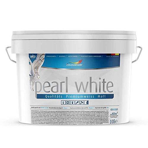 Innenwandfarbe Colourfairy pearl white weiss matt 10l