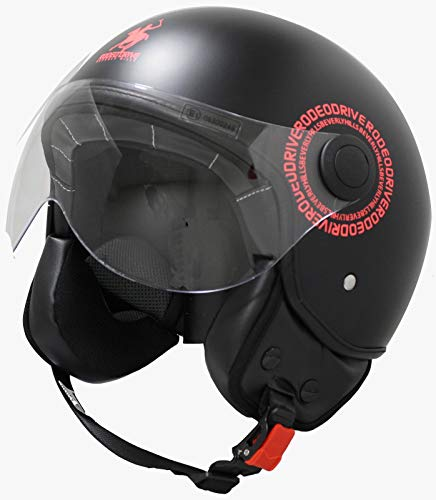 Rodeo Drive RD104N Plus - Casco para Scooter Demi Jet, Color Negro Mate, tamaño Mediano