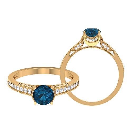 Anillo de compromiso de 1 quilate con solitario de topacio azul Londres, 1/4 quilates D-VSSI, anillo de compromiso, oro vintage (6 mm, 14K Oro amarillo, Size:EU 61
