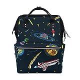 ALINLO - Bolsa de pañales con patrón de astronauta y planeta del espacio exterior, gran capacidad, multifunción, mochila para viajes