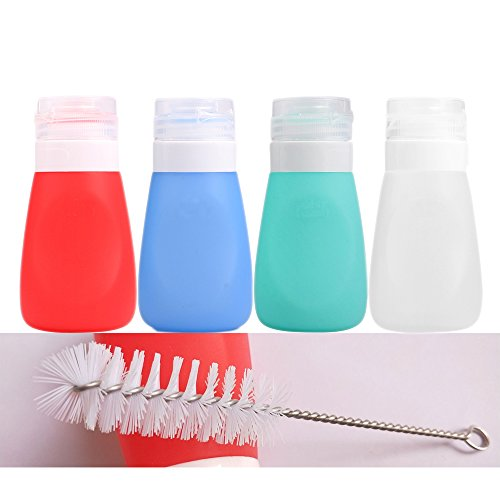 Squeeze Salad Dressing Bottles with Cleaning Brush   Portable Sauce Bottles Condiment Bottles   Dressing to Go for Lunch   3 OZ, Set of 4   Food-grade Silicone, BPA Free