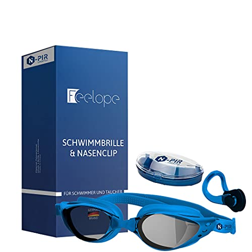 N-PIR US INNOVATION German Brand I Premium Swimming Goggles with Nose Clip 3.0 | German Brand as a Set Sport and Leisure | Anti-Fog Diving Goggles with UV Protection for Clear Underwater Experience