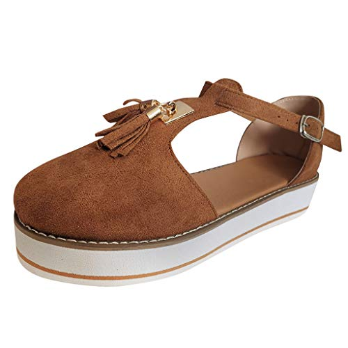 ELECTRI Sandales Bout Fermé Femme Casual Mocassins Sandales Bride Cheville Chaussures De Marche Plateforme Daim avec Pampilles Sandales De Plage