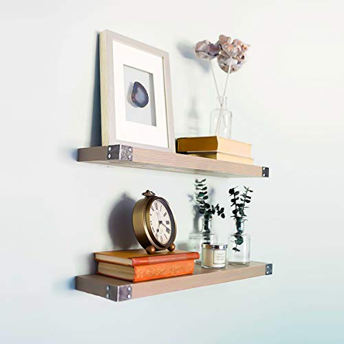 WG WILLOW & GRACE DESIGNS Rustic Gray Floating Shelves with Antiqued Iron Corners, All Wood Wall Shelves - Set of 2 | Bedroom, Bathroom, Kitchen | 24 x 6 x 1.5 in