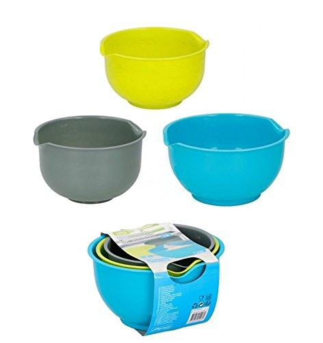 3 PCS Mixing Bowls Plastic Non Slip Base Pour Lip 1.5L, 2L, 2.5L Cooking Baking Salad Kitchen