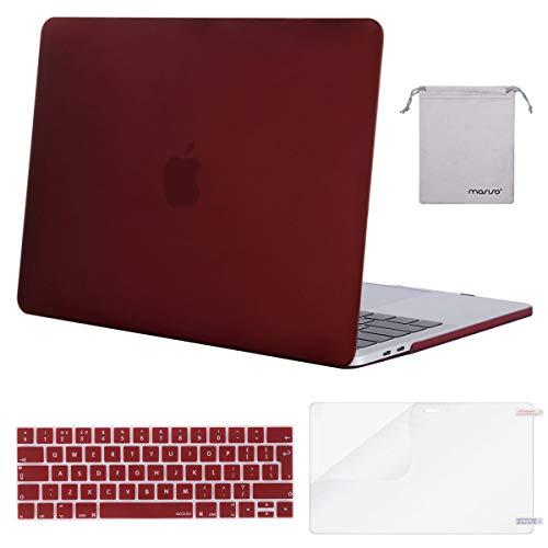 MOSISO Compatibile con MacBook PRO 13 Pollici Case 2019-2016 A2159/A1989/A1706/A1708, Plastica Rigida Cover&Tastiera Cover&Proteggi Schermo&Piccola Custodia, Marsala Rosso