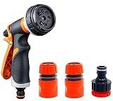 EEM Ugello per Tubo da Giardino Resistente, Spray per irrigazione ad Alta Pressione, irrigatore ad Acqua con 8 Modelli per irrigazione a Mano, Prato e Giardino, Pulizia, Auto e Animali Domestici