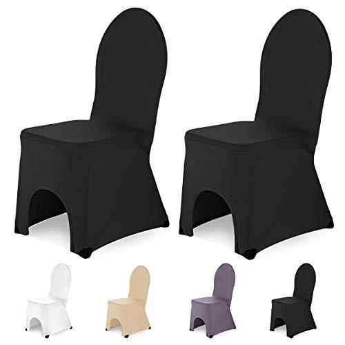 SCHEFFLER-Home Bella 2er Set Bankett Stuhlhussen Stretch, Stuhlabdeckung elastisch Spannbezug mit Fuß Kappen, schwarz