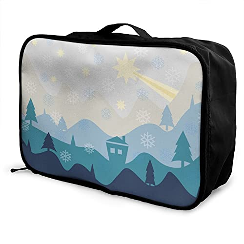 Winter Landscape Star Home Lightweight Large Capacity Portable Luggage Bag for Women and Men Can Be Hung On The Trolley Case