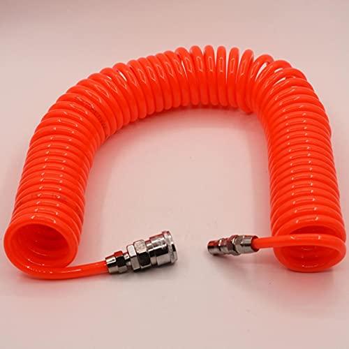 Manguera de aire flexible de PU 8x5mm / 10x6.5mm / 12x8mm Tubo de compresor de poliuretano con componentes Pneu Acoplador portátil de tubo de resorte con conector, 12 metros, 10x6.5mm