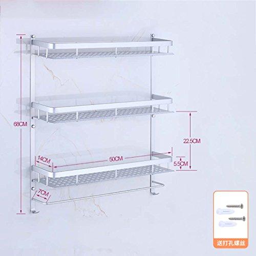 A salle de bain étagère Porte-serviette espace aluminium salle de bains étagère trois étages installation perforée (40cm, 50cm, 60cm) (taille : 50 cm)