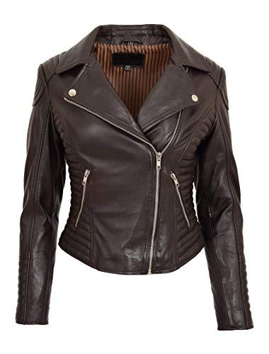 Damen Designer Leder Biker-Jacke Weiches Braun Ausgestattet Gesteppt Reißverschluss Mantel Bonita (L - EU 40)